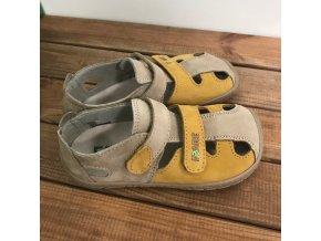 Kožené barefoot sandále - hořčičná s béžovou, Fare bare