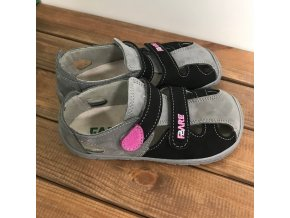 Kožené barefoot sandále - šedočerné s růžovou, Fare bare