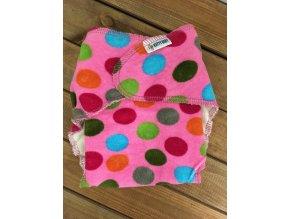 Chobotová plena - puntíky na růžové - velikost 1 (3-8 kg), KatyvBaby