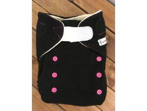 Svrchní kalhotky VLNA - suchý zip - černé s růžovou, KatyvBaby