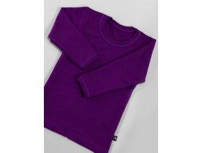 Bambusové tričko s dlouhým rukávem - fialová, Duomamas