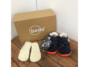 Zimní kožené boty s kožíškem a membránou na suchý zip - Blue Mandarine, Boty Beda