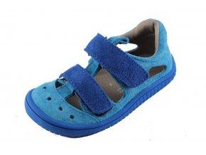 Barefoot sandály Kaiman velours turquoise/blue M, Filii barefoot