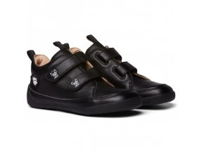 detske barefoot boty affenzahn lowcut leather panther triple black
