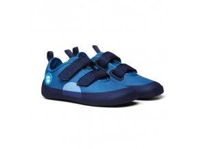 detske barefoot boty affenzahn lowcut cotton bear blue