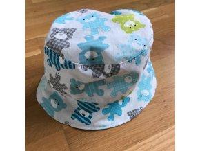 Bavlněný klobouček - modrý medvídek, Katka Černá