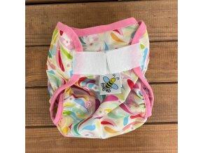 Novorozenecké PUL svrchní kalhotky Floral (lemování růžová) MINI, Majab