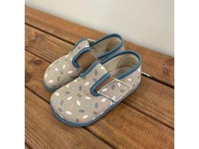 Barefoot Pegres papučky BF01 modrá/lístečky, Pegres