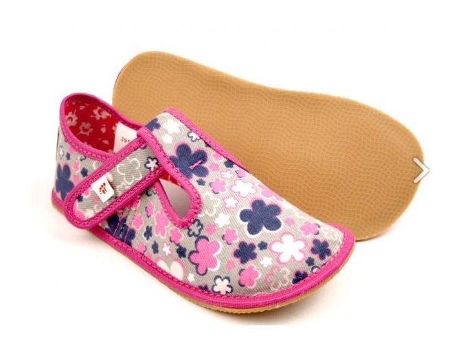 EF barefoot přezůvky růžové květy / šedá