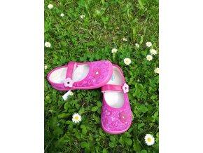 BEDA barefoot plátěné baleríny - růžové kvítka