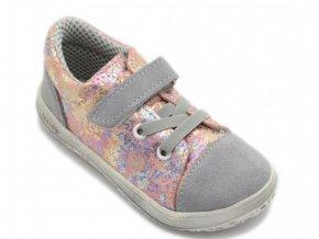 JONAP barefoot B12SV SLIM celoroční kožená obuv šedo/růžová
