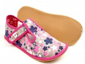 EF barefoot přezůvky růžové květy / modrá