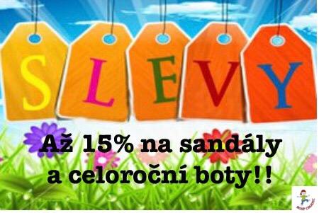 Slevy do 15% na celoroční boty a sandály