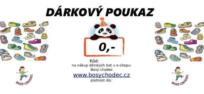 Dárkový poukaz na nákup dětských bot v prodejně Bosý chodec