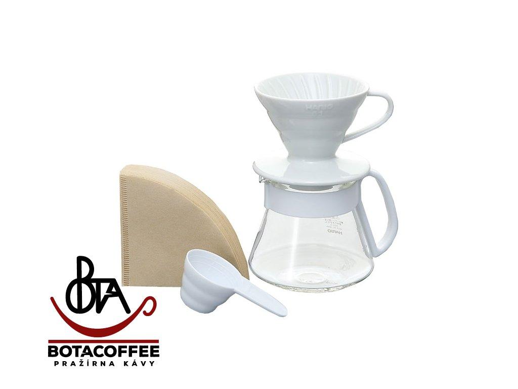 Hario Set V60 01 Ceramic White Drip Scale Vstm 2000hsv