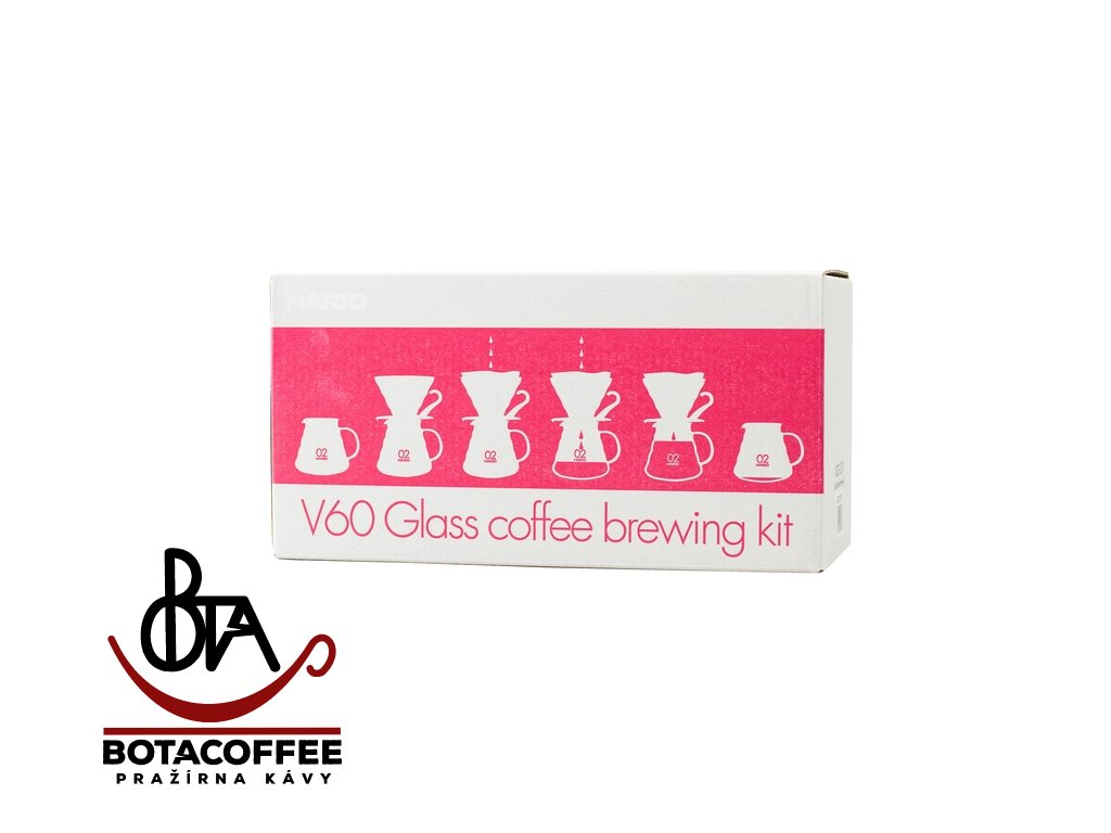 Hario Set V60 02 Glass Coffee Brewing Kit Red, balení