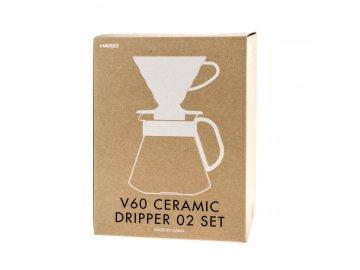 Hario Set - V60-02 + dekantér + filtry - white