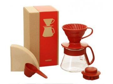 Hario V60 Dripper & Red Pot Set dripper + konvička + filtry + odměrka + dárková krabička