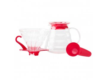 Hario Set V60 02 Glass Coffee Brewing Kit Red, dripper, dekantér, odměrka