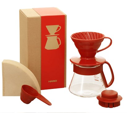 Hario V60-01 Red Pot Set - dripper + dekantér + filtry