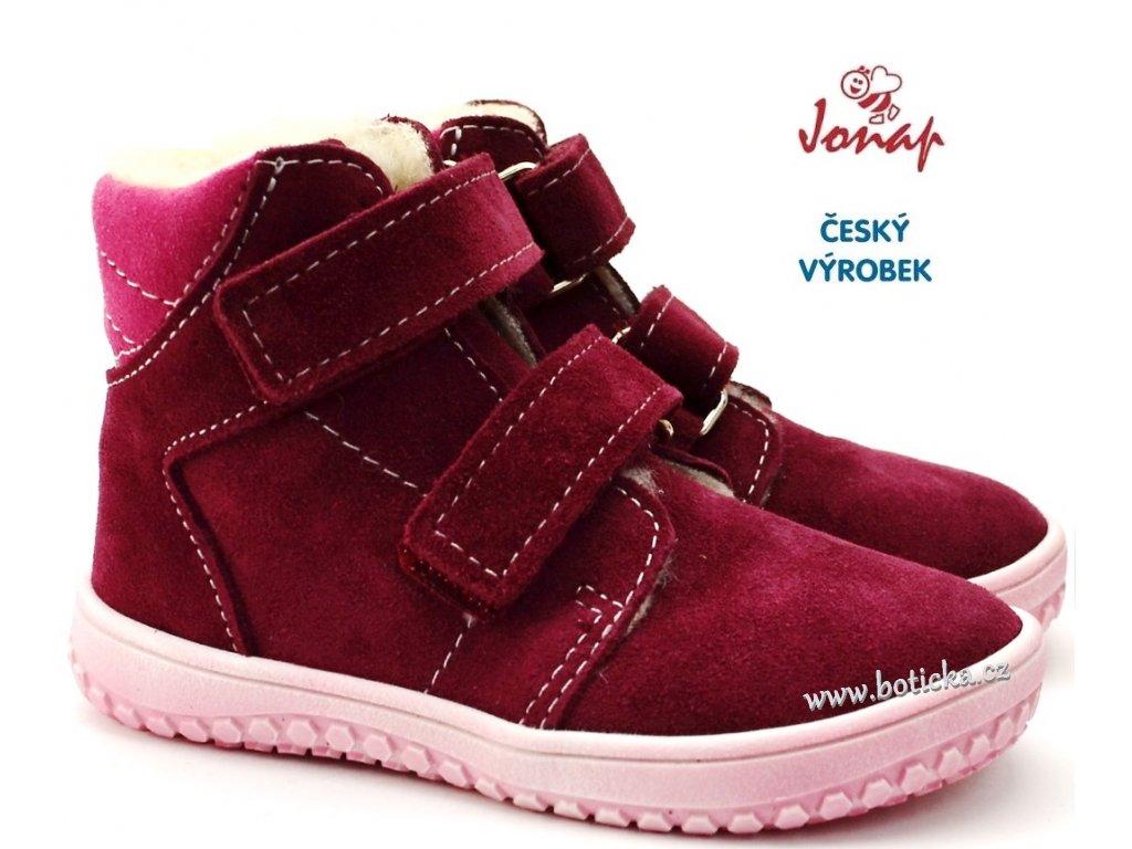 JONAP B4 Dětské zimní barefoot boty vínové