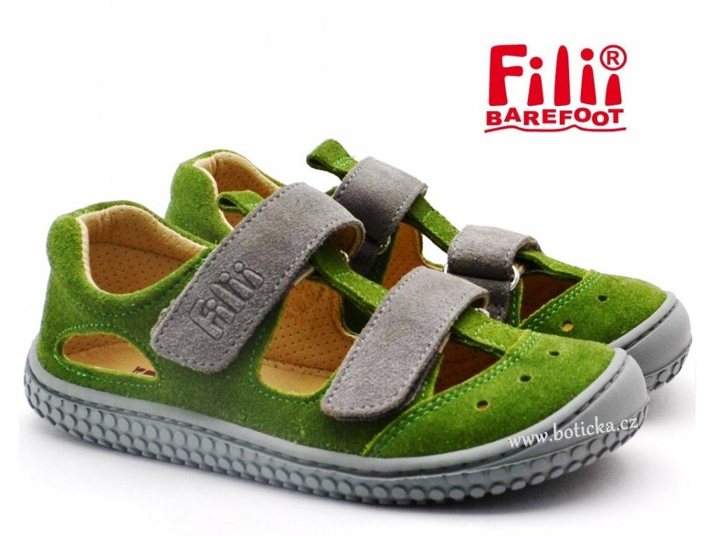 Filii sandále barefoot KAIMAN apple/grey