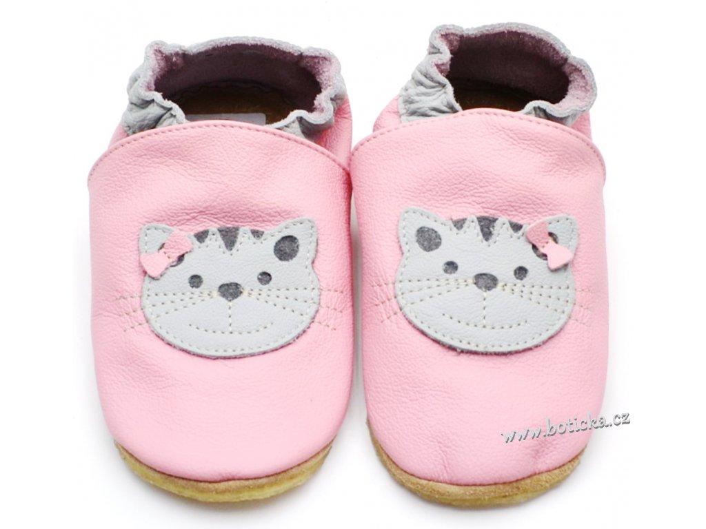 Kožené capáčky s gumou HOPI HOP BA-197 růžová kočka