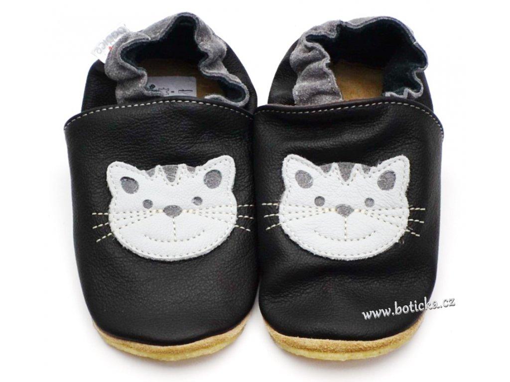 Kožené capáčky s gumou BABICE BA-198 černá kočka