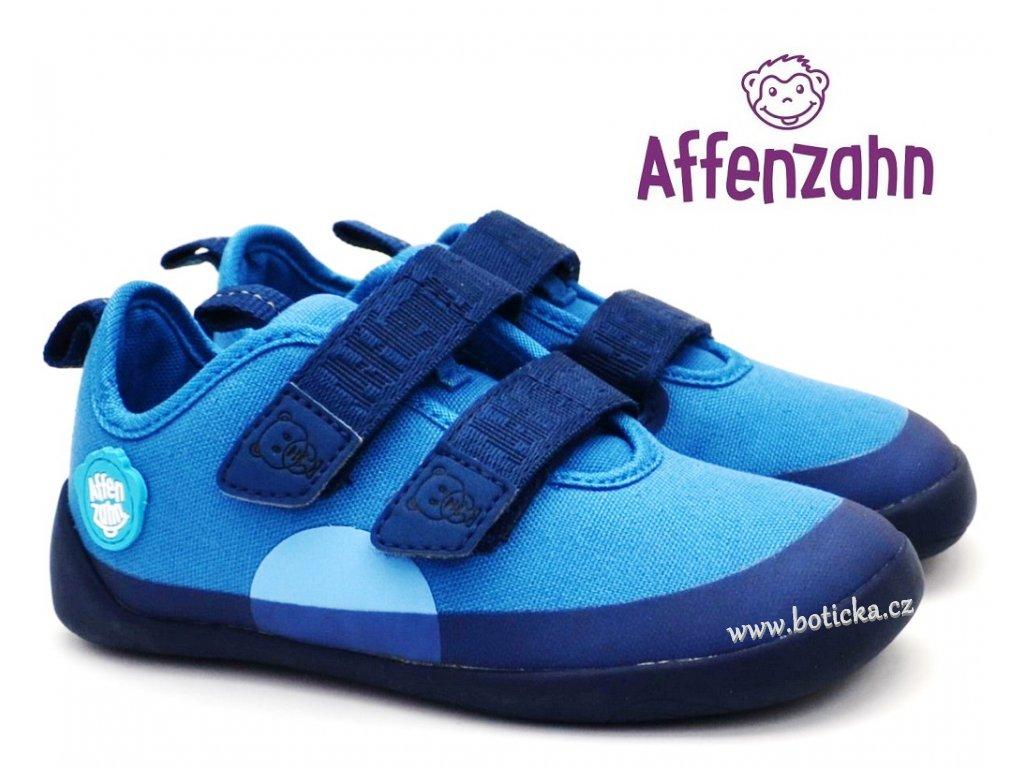 AFFENZAHN Dětské barefoot boty Cotton Sneaker Bear Blue