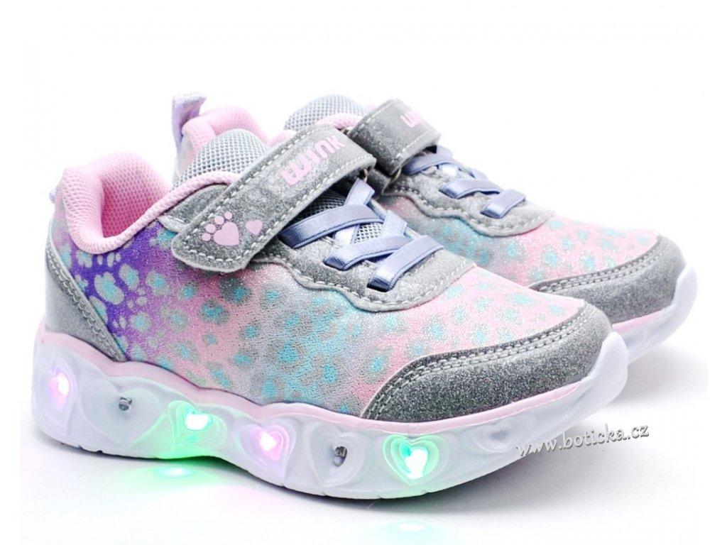 Blikající boty WINK FE11395-23 stříbrné