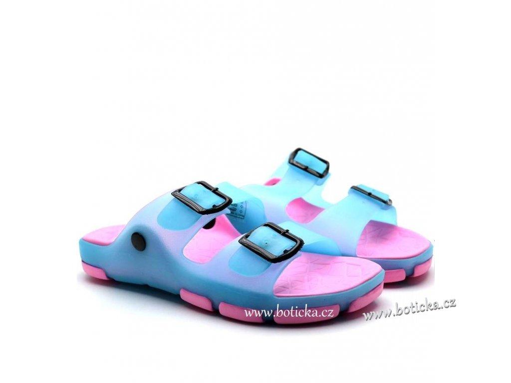 Pantofle SCANDI 58-0037 modro-růžové