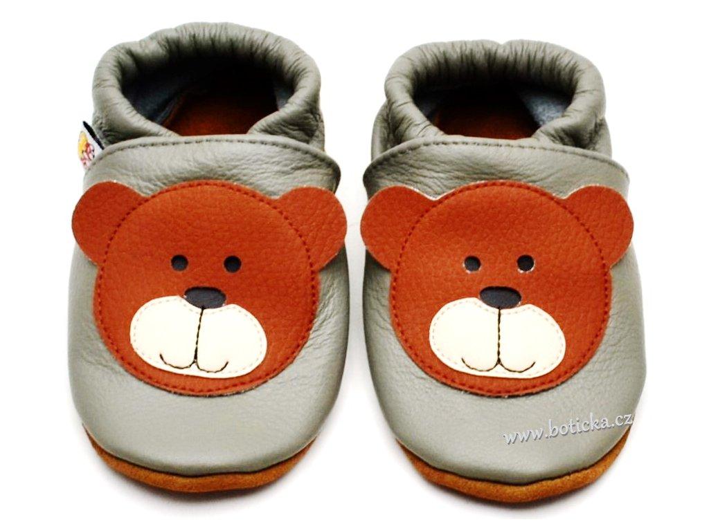 Kožené capáčky AFELO AFEL-20 Medvídek šedý