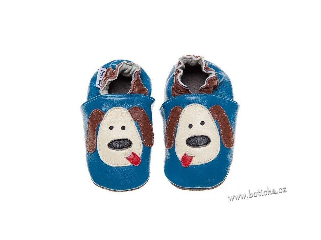 Kožené capáčky Hopi Hop modrý pejsek