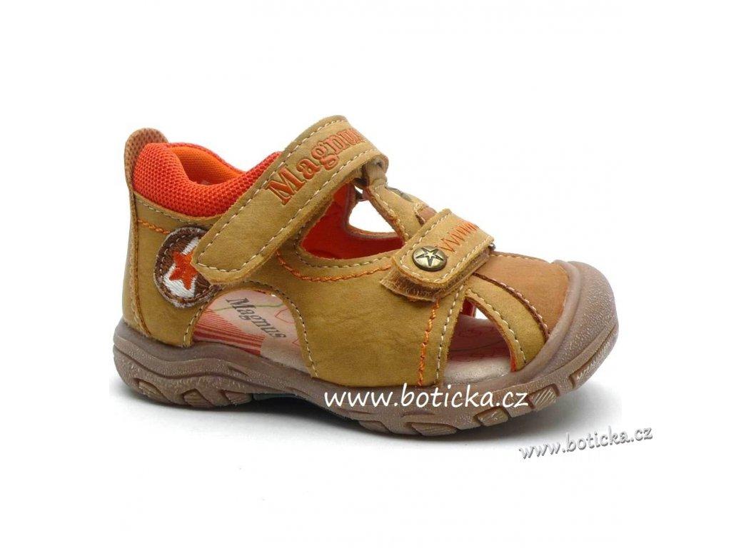 5bece8c2a903 Dětské sandále MAGNUS 45-0186 d. beige - Botička