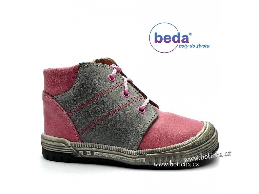 Béďa boty MB 0009/CA šedorůžová