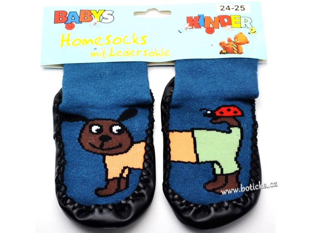 Ponožky s kůží - modrý pes