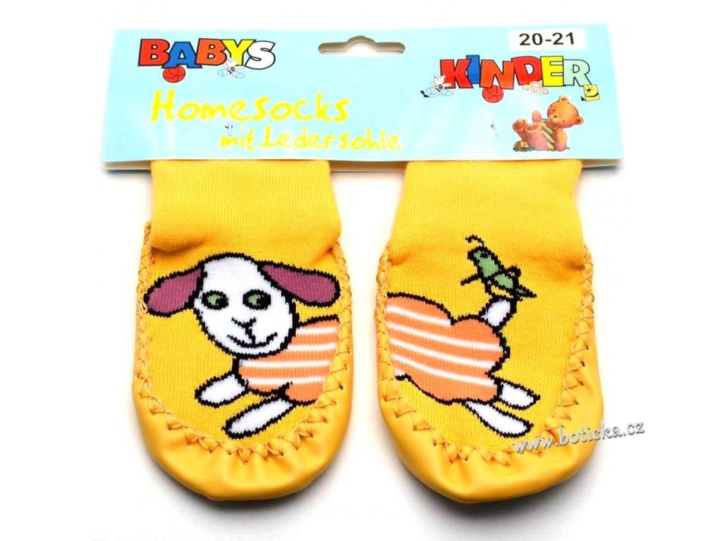Ponožky s kůží Socks 4 fun - žlutá ovečka