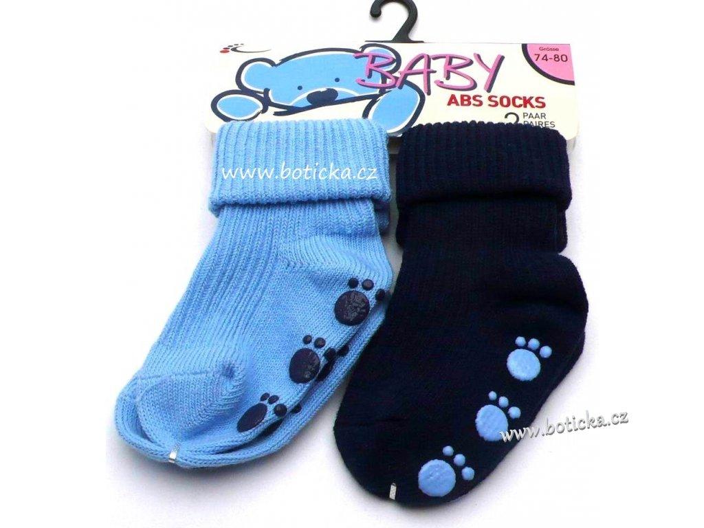 Protiskluzové ponožky BABY ABS dvojbalení modré - Botička 8abfb4543e