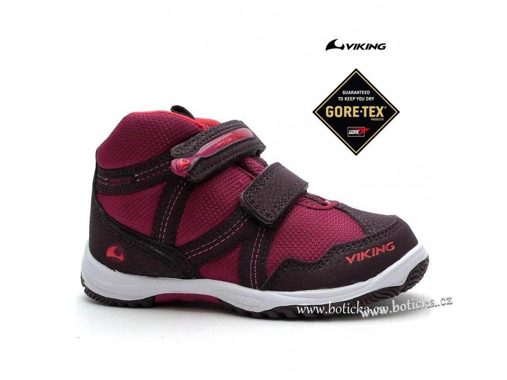 Dětské boty VIKING 3-40385 gore-tex vínové