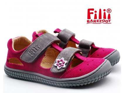 Filii sandále barefoot KAIMAN pink/grey