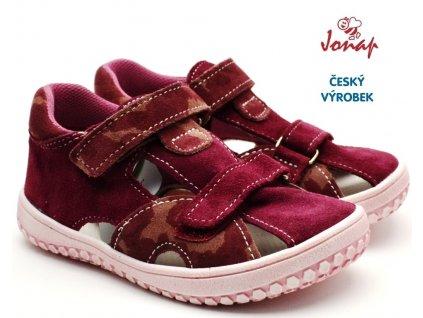 JONAP B8 Dětské barefoot sandále vínové