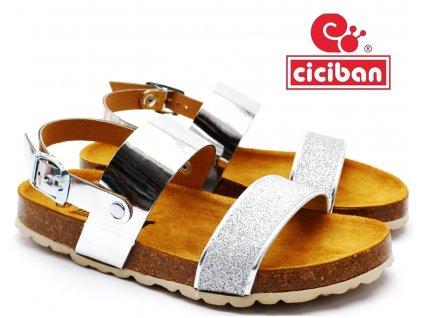 CICIBAN 2957510 Bio pantofle stříbrné