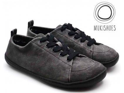 Barefoot tenisky Mukishoes - Low-cut OBSIDIAN