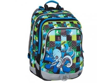 Školní batoh ALFA 7 C BLUE/GREEN + dárek