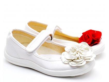 Textilní balerínky Chameleon bílé