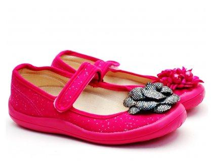 Textilní balerínky Chameleon růžové
