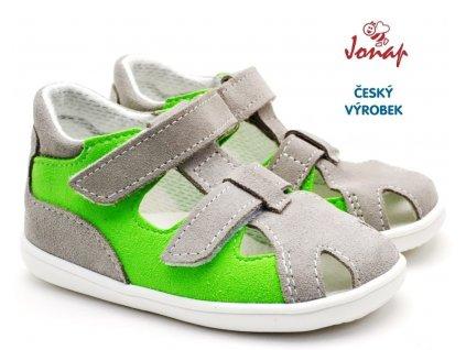 JONAP 041s Dětské sandále šedozelené