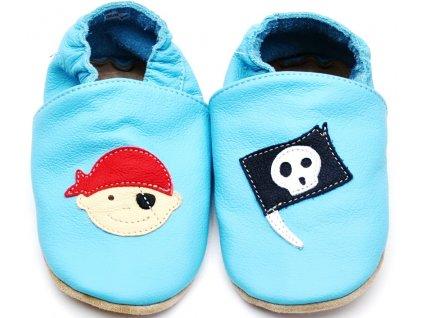 Kožené capáčky s gumou BABICE BA-123 sv. modrý pirát