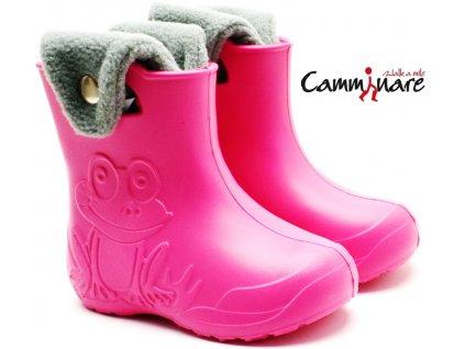 CAMMINARE G003 zateplené sněhule/gumáky růžové