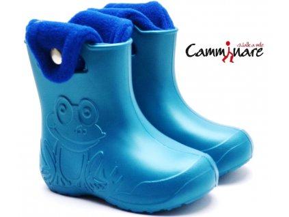 CAMMINARE G006 zateplené sněhule/gumáky tyrkys